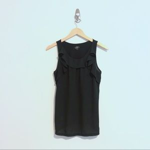 Black LOFT tank with front ruffle detailing.